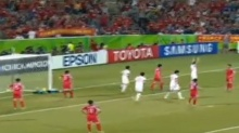 2015年亚洲杯足球赛小组赛最后一轮 中国队2:1战胜朝鲜队