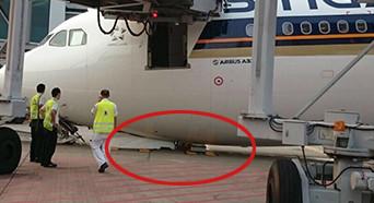 """新加坡航空客机起落架坍塌 飞机机头着地给""""跪了"""""""